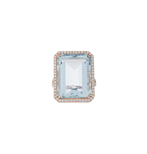 Emerald Cut Aquamarine & Pave Ring
