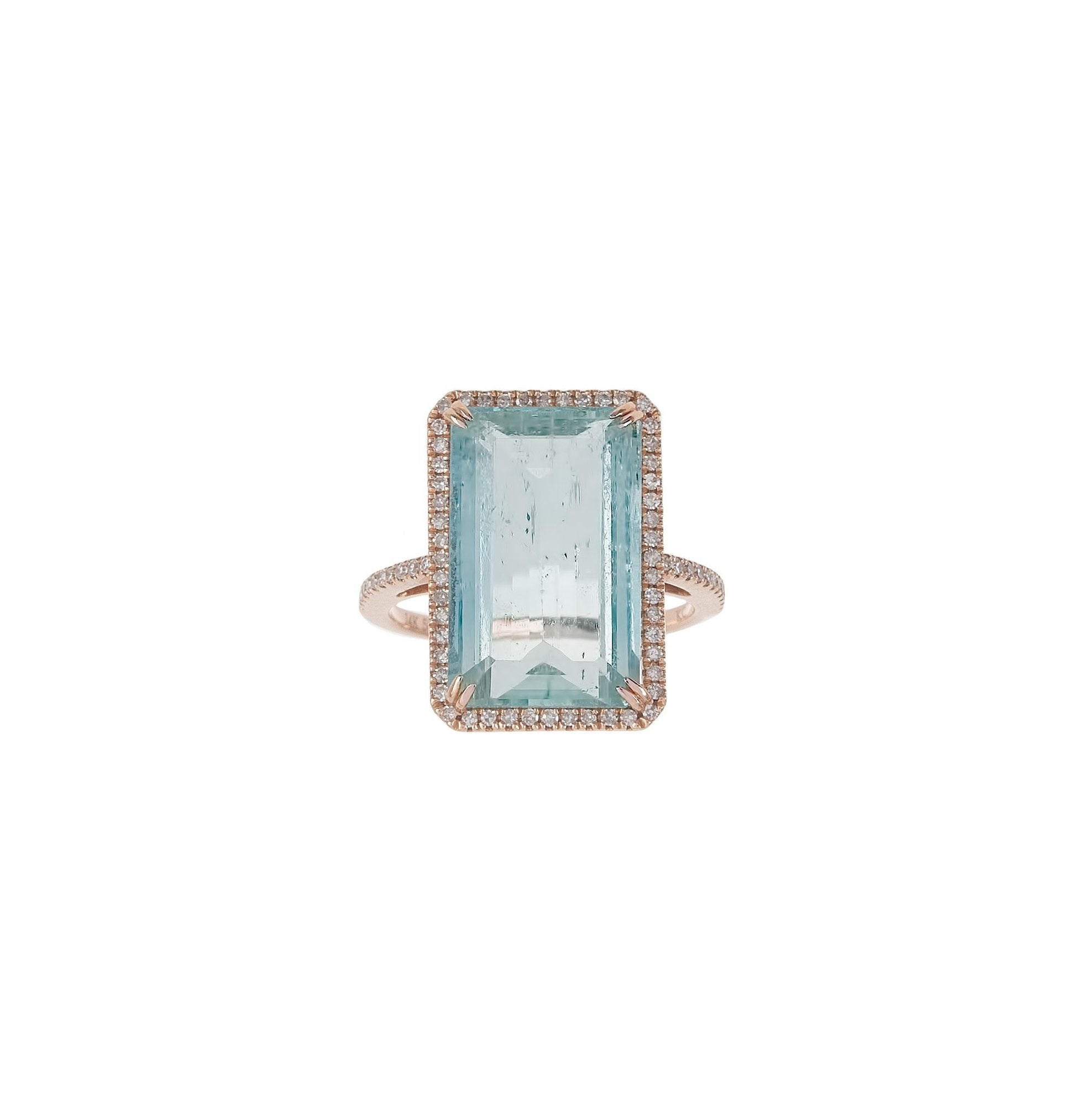Aquamarine & Pave Ring