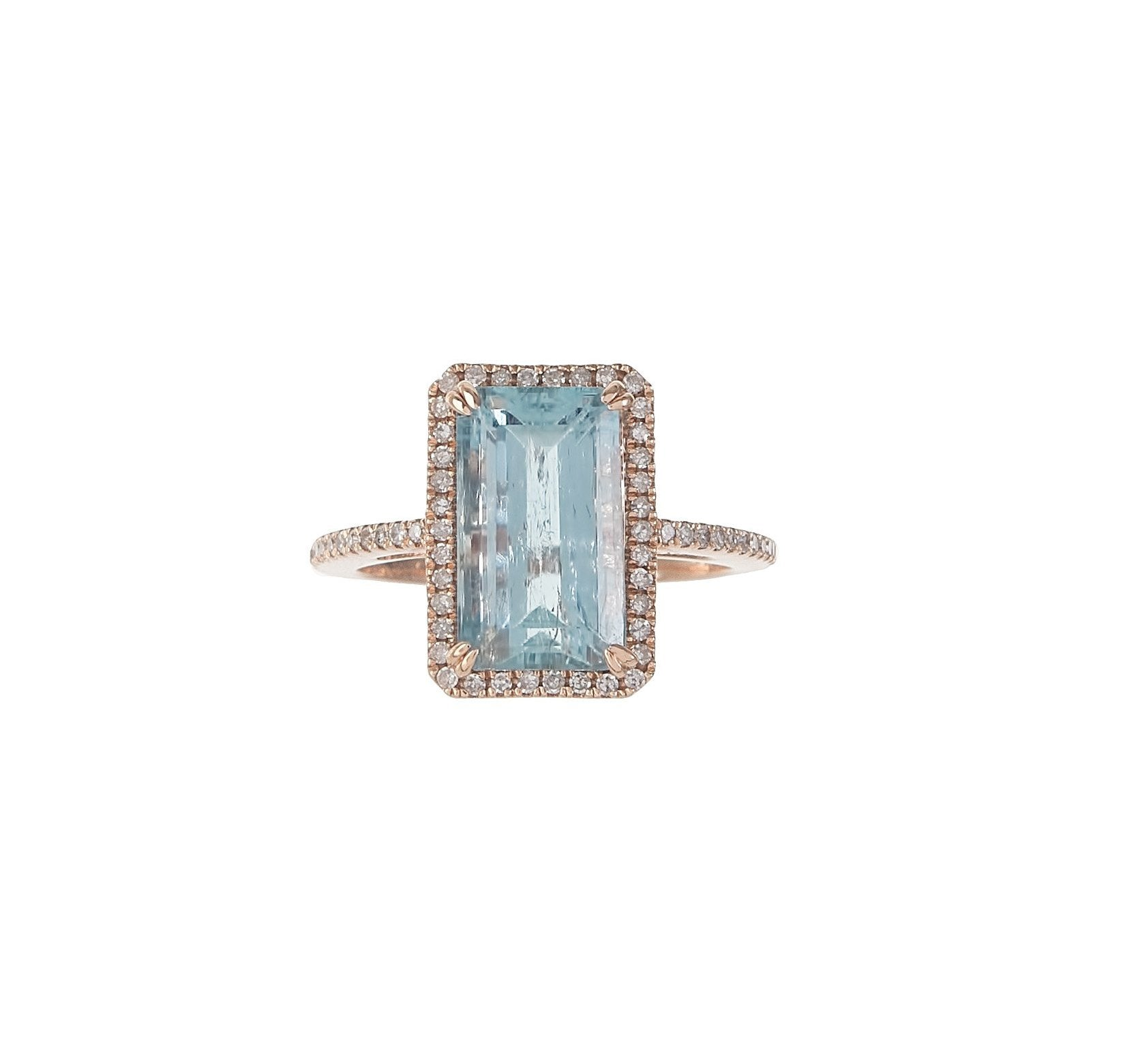 Pave & Aquamarine Rectangle Ring