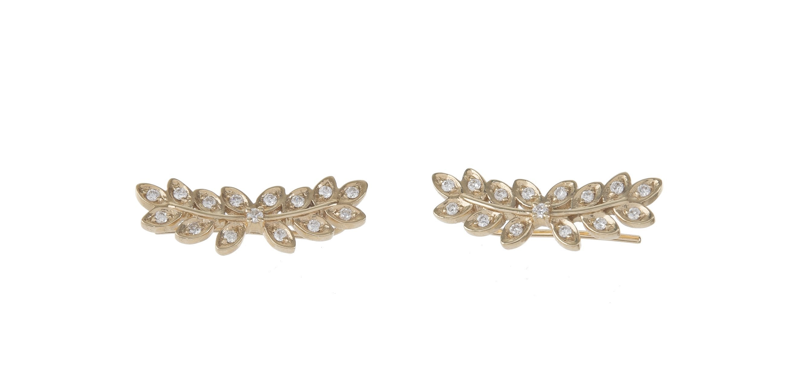 Pave Diamond Fern Ear Climbers