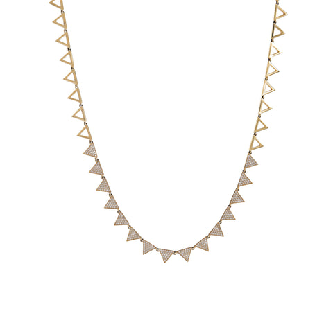 Pave Diamond Triangles Necklace