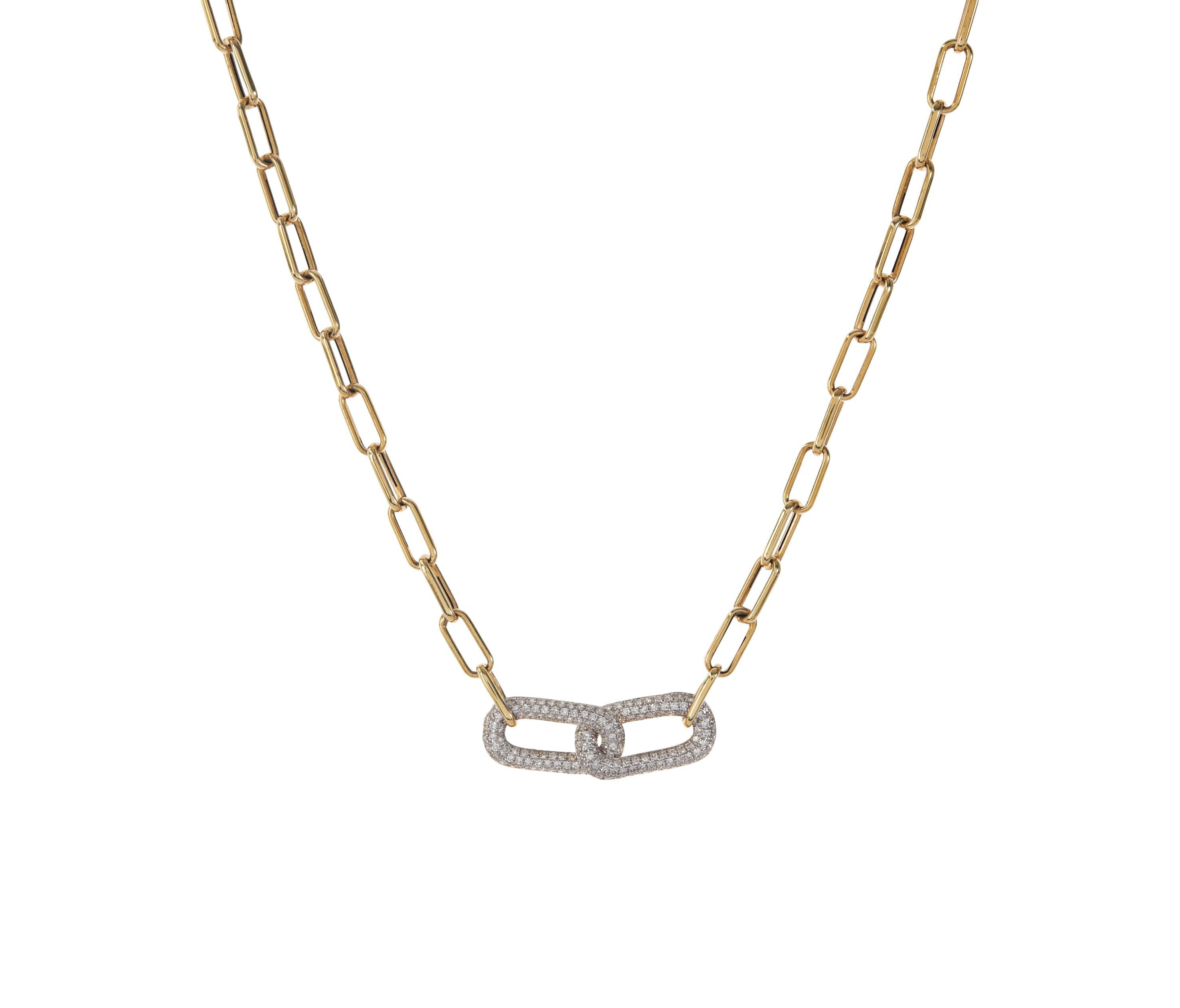 Open Cable Chain with Pave Links Necklace