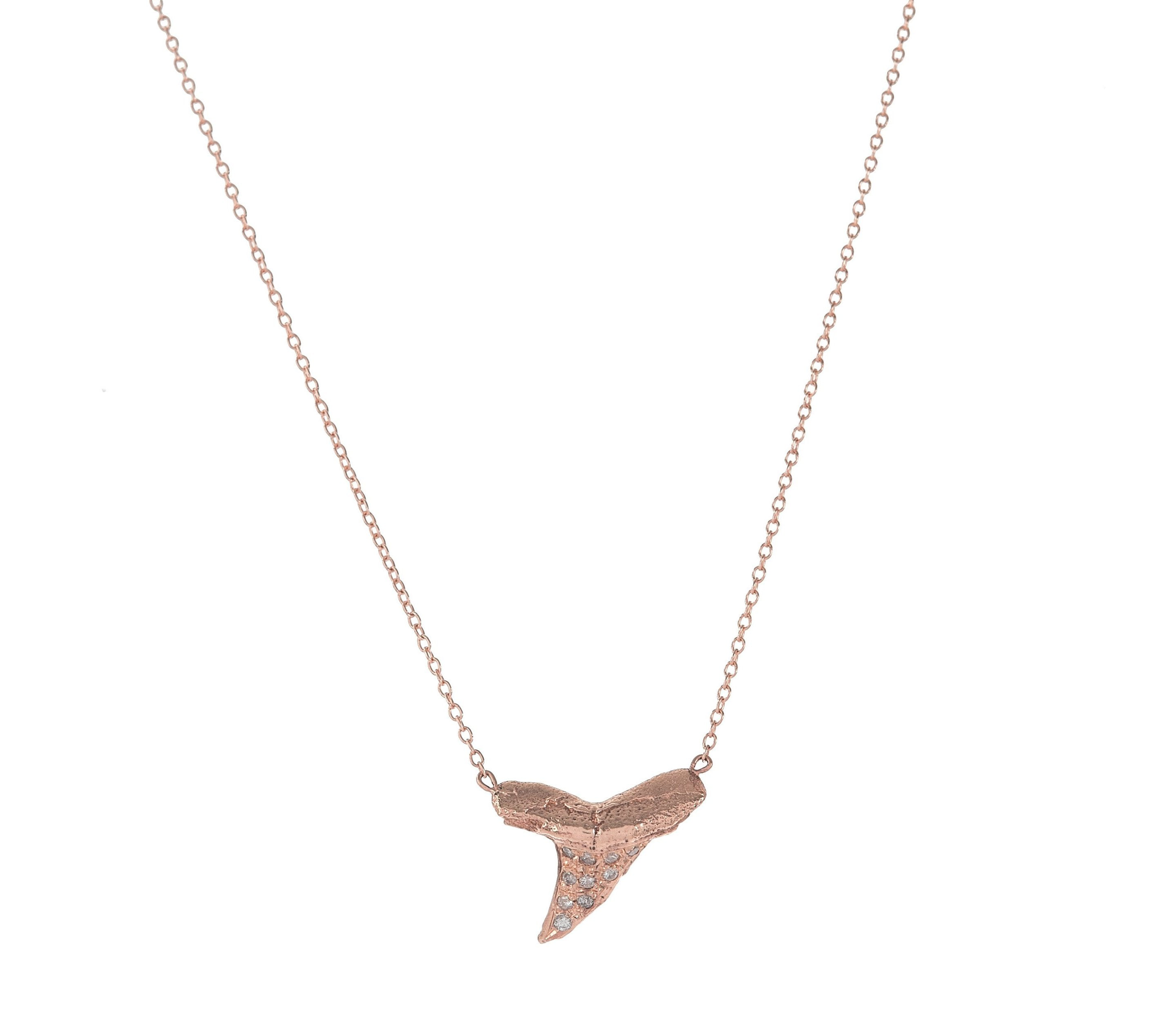Pave Diamond Shark's Tooth Necklace
