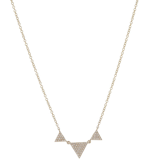 3 Graduated Pave Triangles Necklace