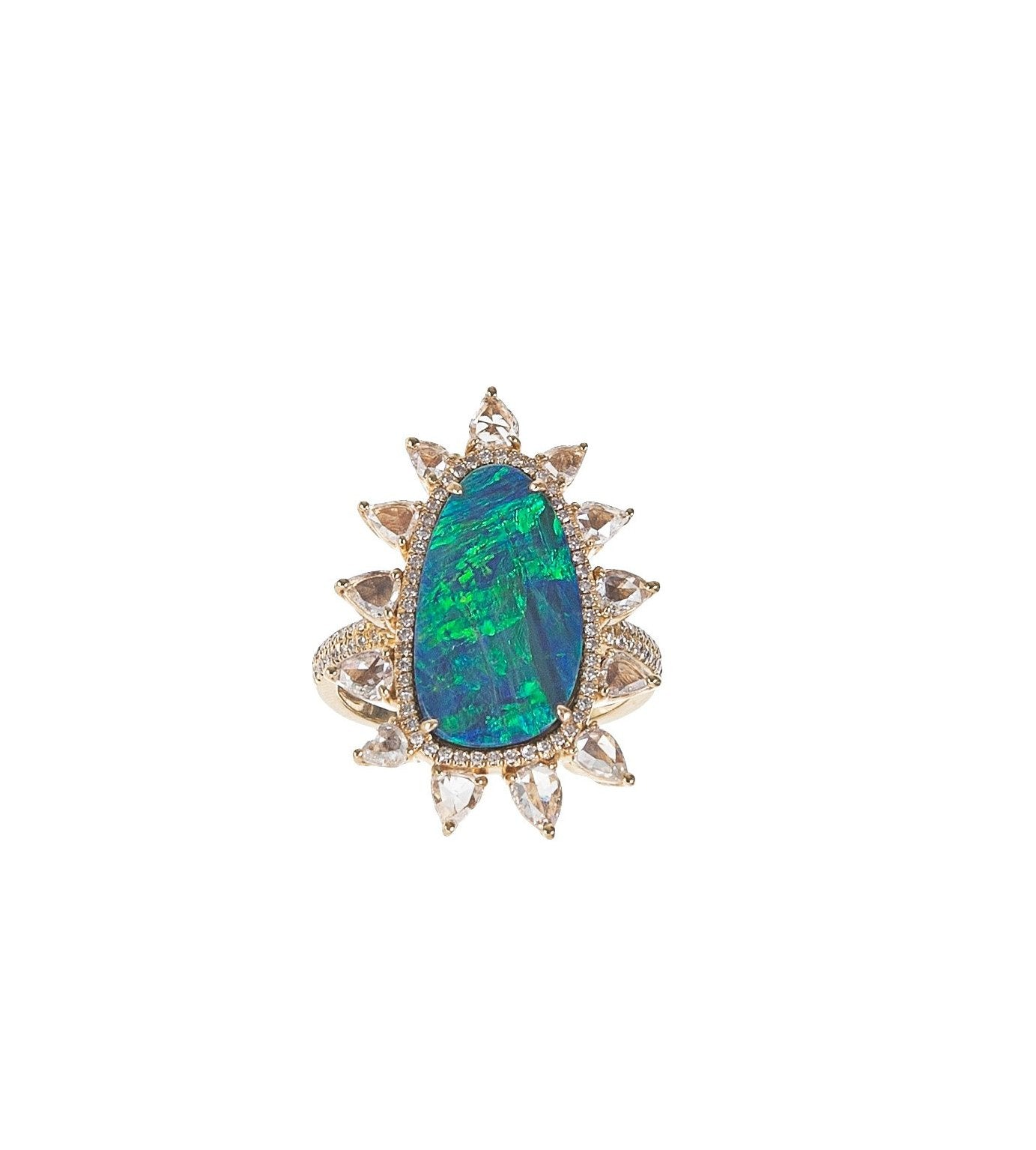 Opal & Diamond Sunburst Ring