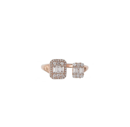 Multi Shape Diamond Double Rectangle Ring
