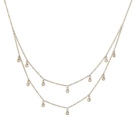 Double Diamond Bezel Dangle Necklace