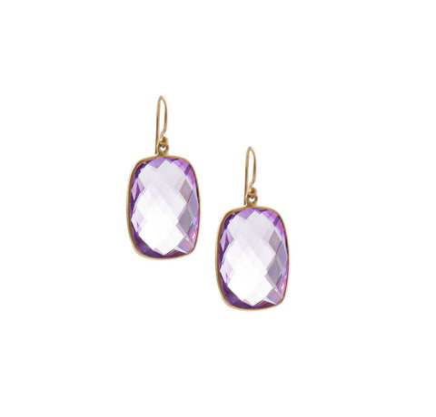 Amethyst Rectangle Drop Earrings