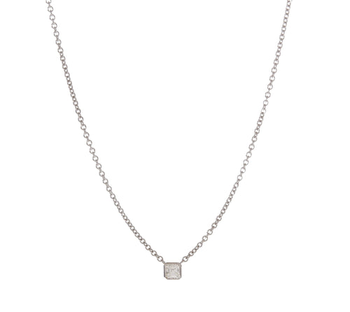 Asscher Cut Diamond Solitaire Necklace