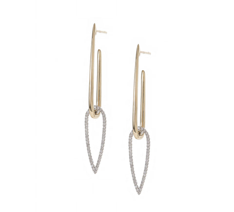 Inverted Open Teardrop Link Earrings