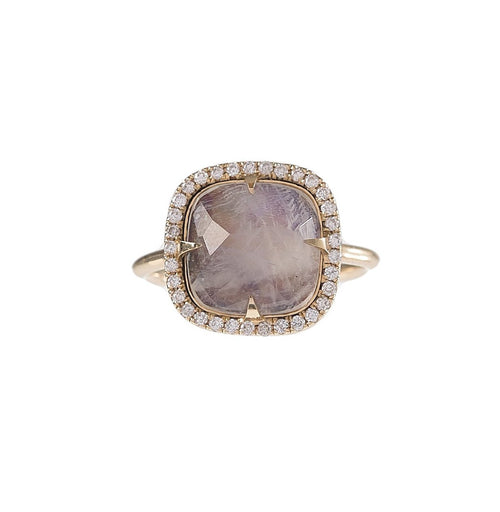Sm Rainbow Moonstone & Pave Ring
