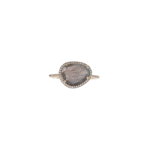 Labradorite & Diamond Pebble Ring