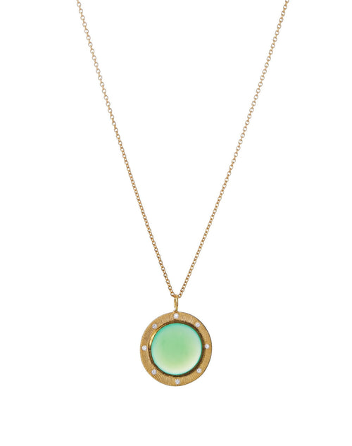 Chrysoprase & Diamond Pendant