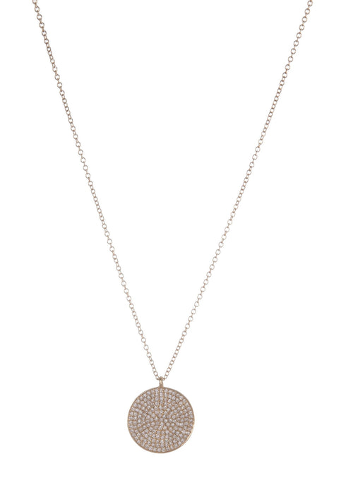 Large Pave Diamond Disc Necklace