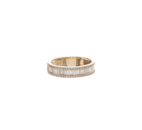 Baguette & Pave Diamond 1/2 Eternity Band