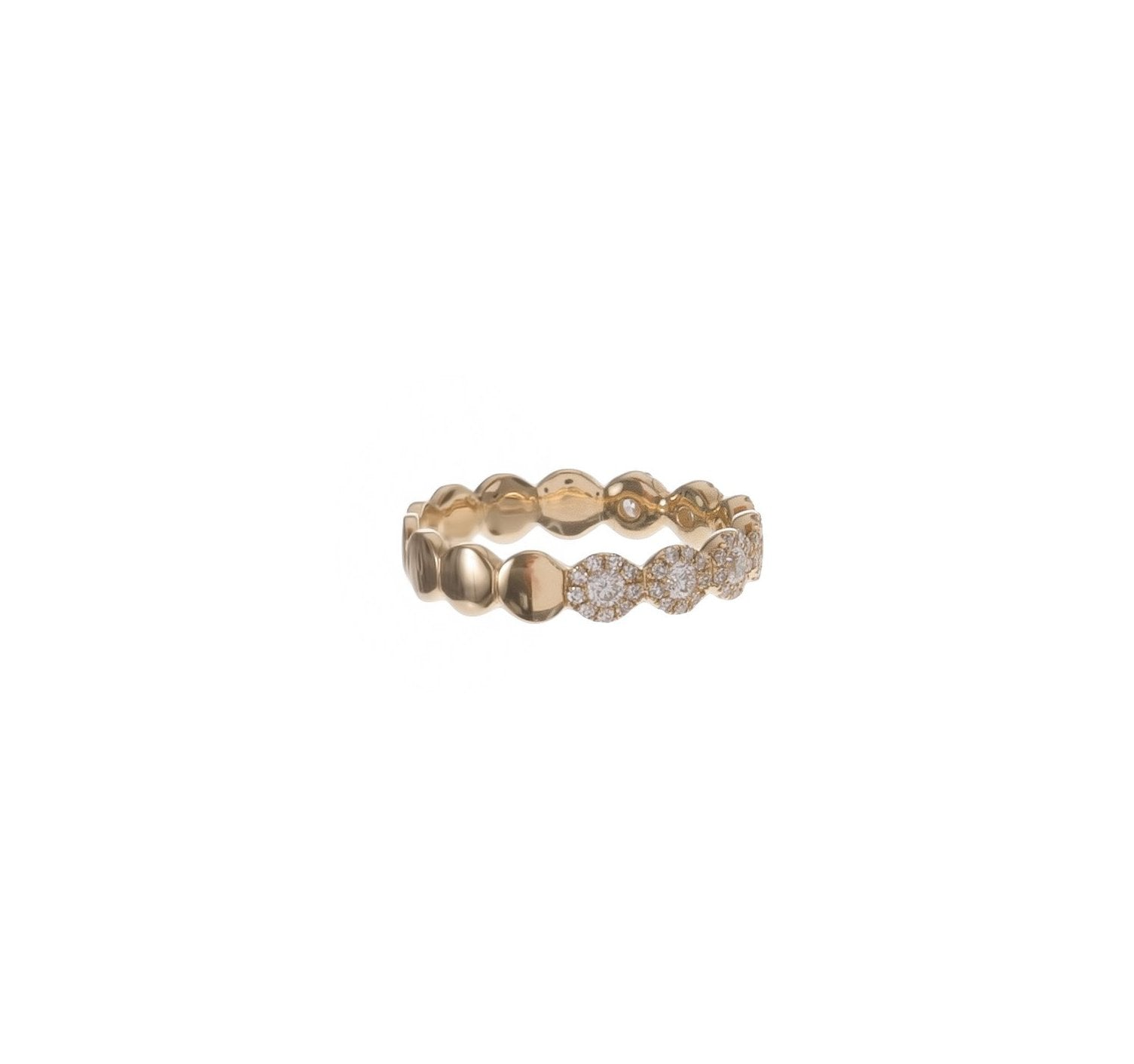 Pave & Bezel Diamond Circles Ring