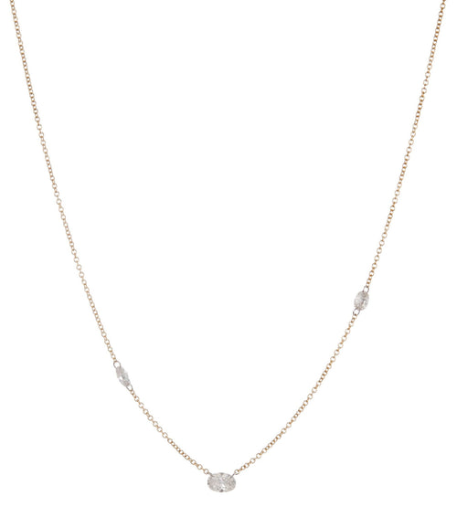 Three Floating Oval Diamonds Necklace