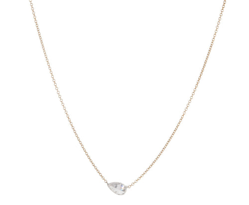 Floating Sideways Pear Diamond Necklace