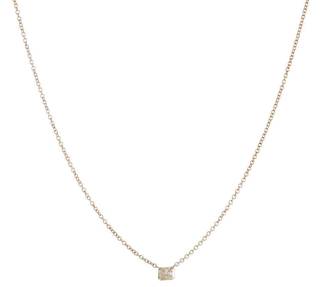 Floating Emerald Cut Diamond Necklace
