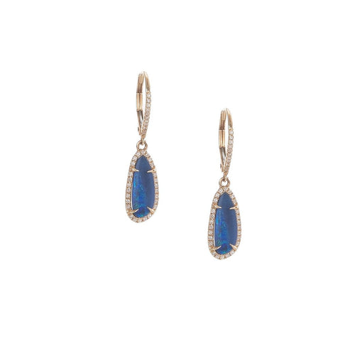 Pave & Opal Drop Earrings