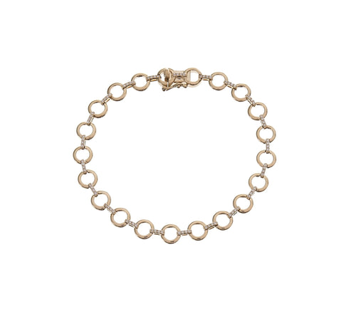 Gold Circle Chain & Pave Link Bracelet