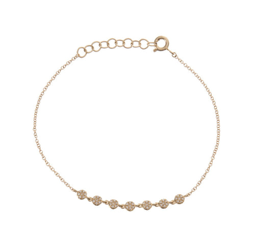 7 Mini Diamond Discs Chain Bracelet