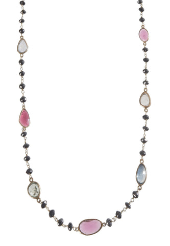 Black Diamond & Multi Tourmaline Necklace