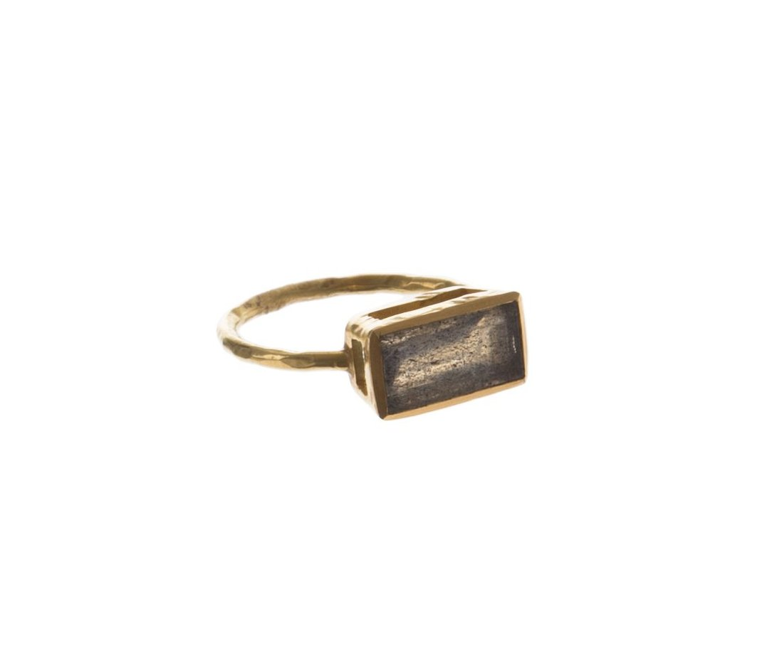 RECTANGLE LABRADORITE RING