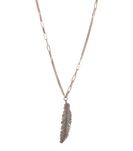 Champagne Diamond Feather Necklace