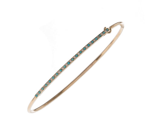 Skinny Turquoise & Diamond Bangle