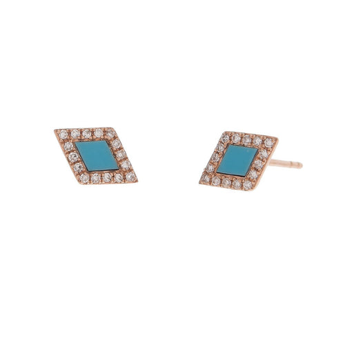 Pave and Turquoise Diamond Studs