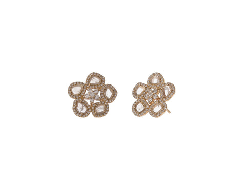 Diamond Slice Flower Studs