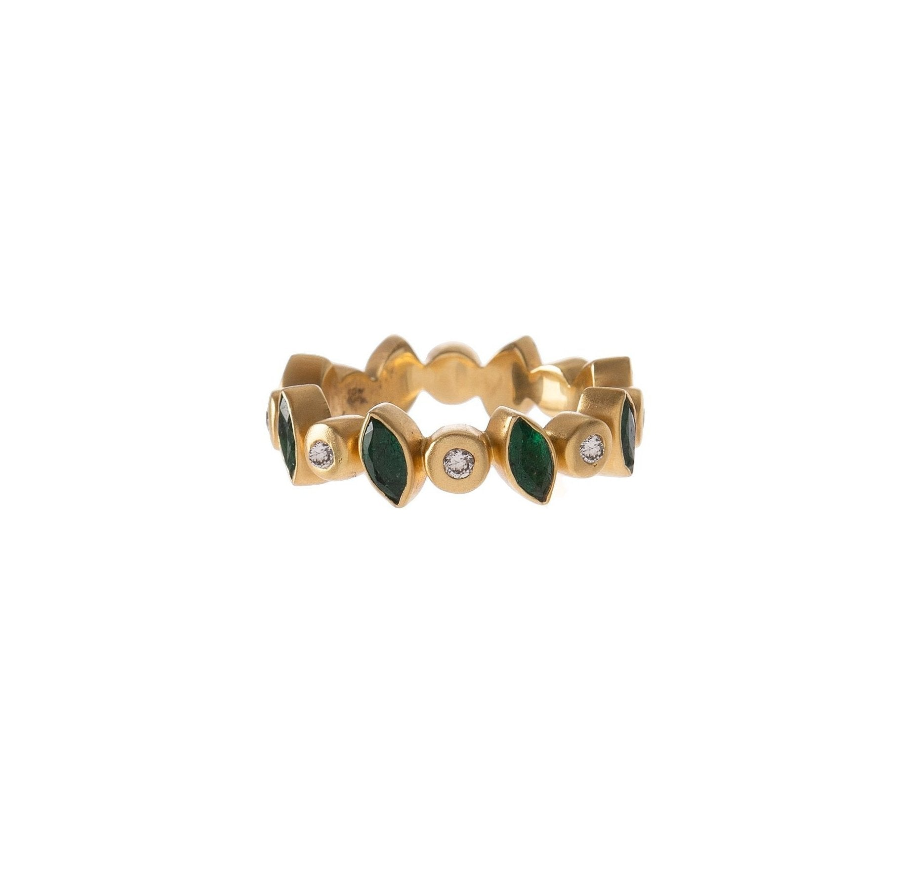 Diamond & Emerald Marquis Ring