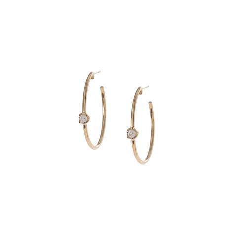 Diamond Prong Hoops