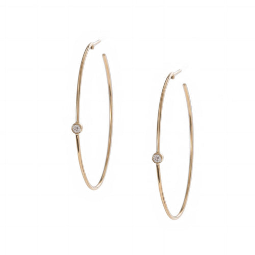 Diamond Bezel Hoops