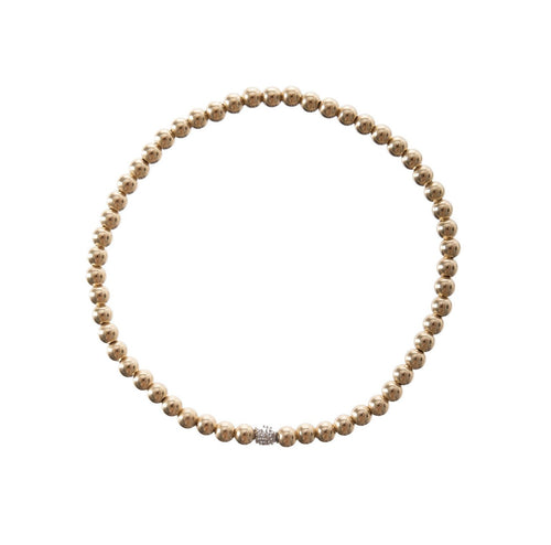 Pave Diamond Gold Bead Bracelet