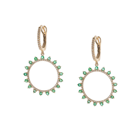 Emerald & Diamond Circle Drop Earrings
