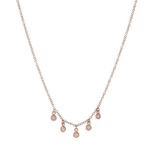 5 Diamond Bezel Dangle Necklace