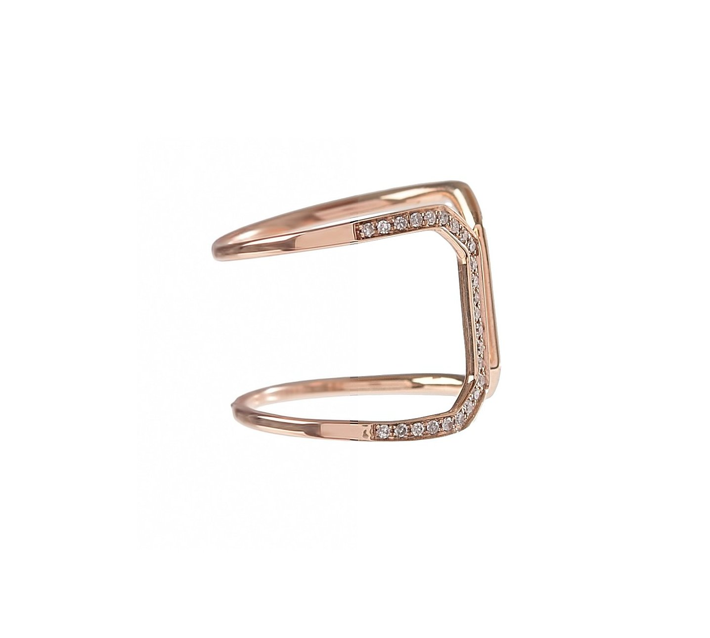 Pave Diamond Open Geometric Ring