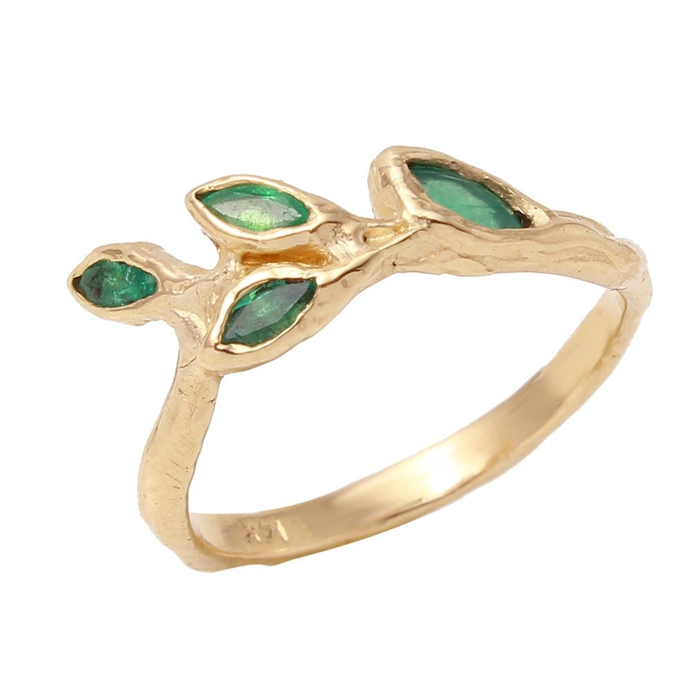 Four Leaf Emerald Ring