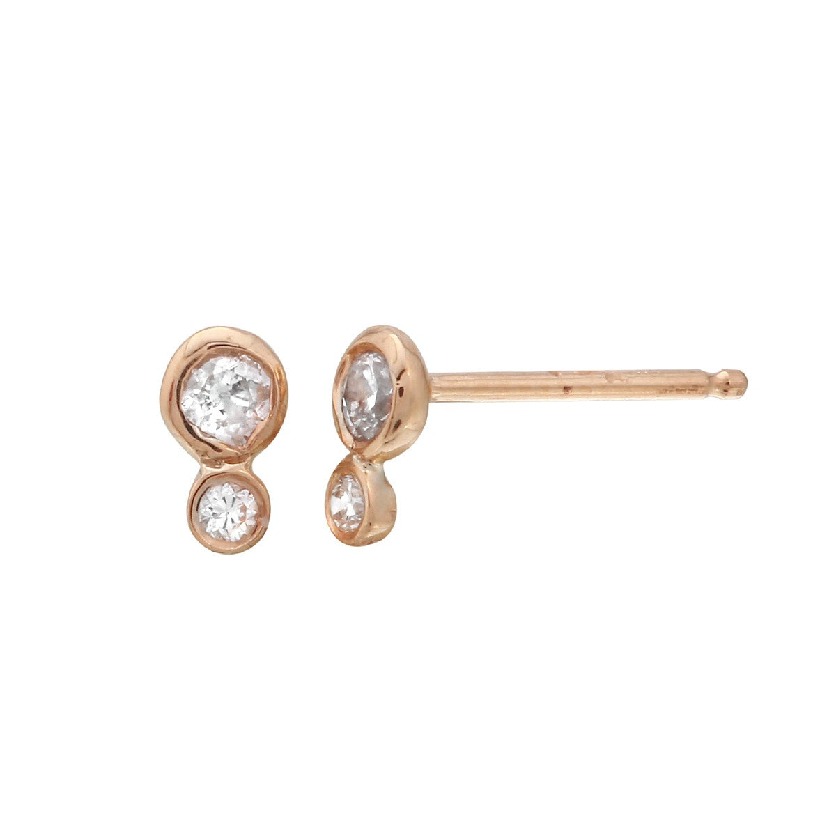 Double Diamond Bezel Earrings