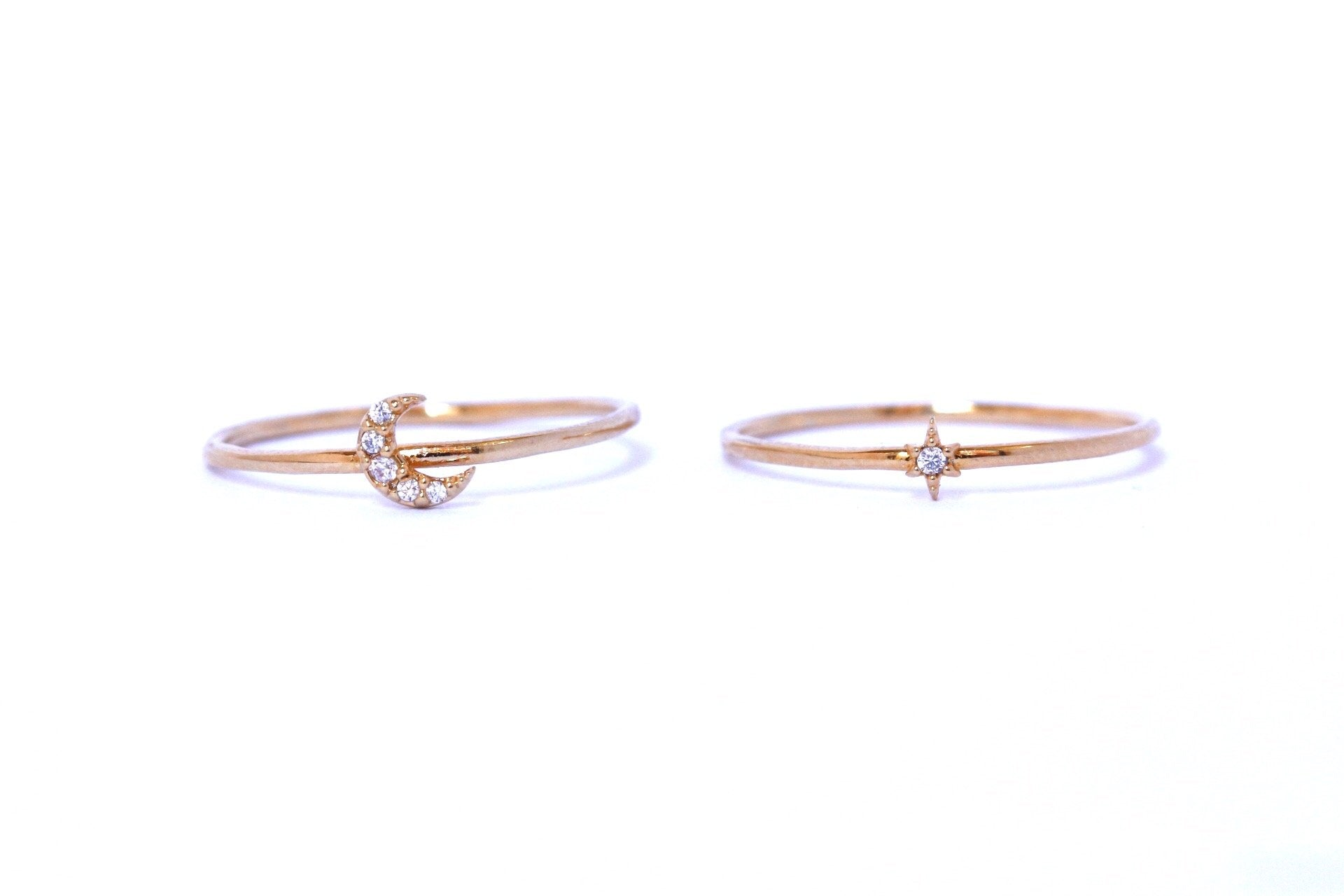 Moon & Star Stacking Ring Set