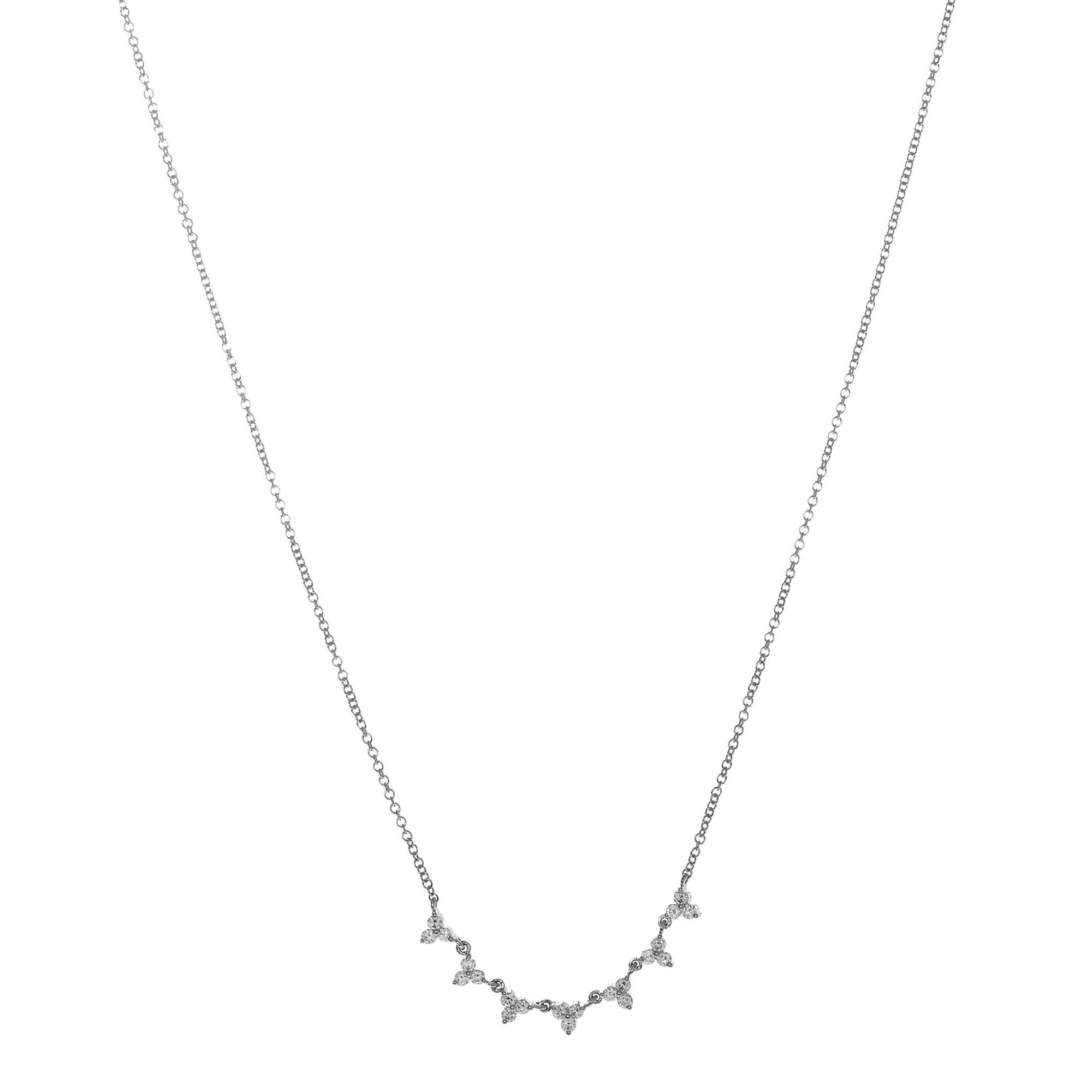 Diamond Trio Clusters Necklace