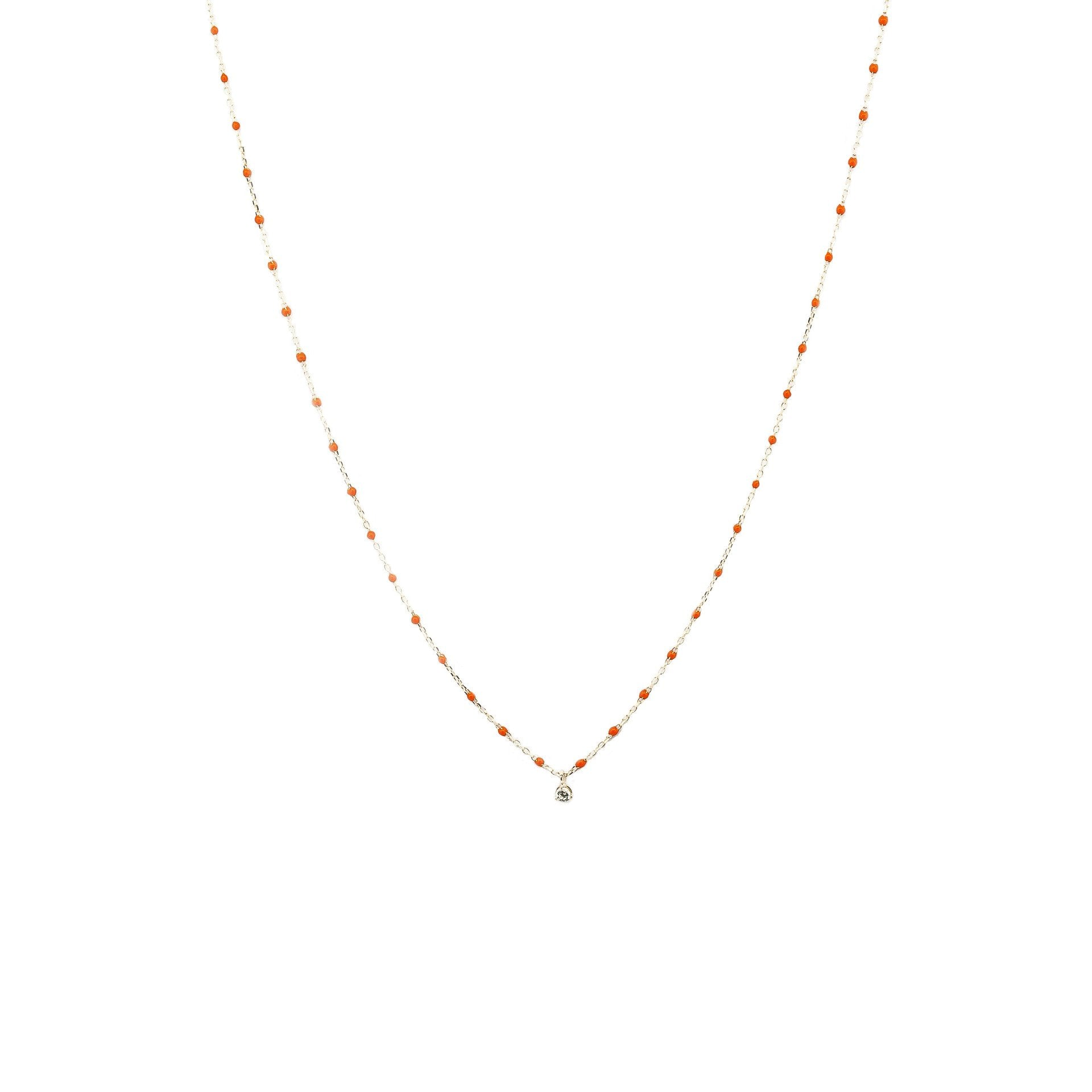 Enamel Bead and CZ Dangle Necklace