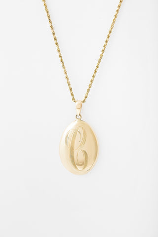 Large Engraved Ovate Signet Necklace