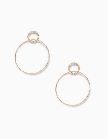 Pave Single Circle Hinge Earrings