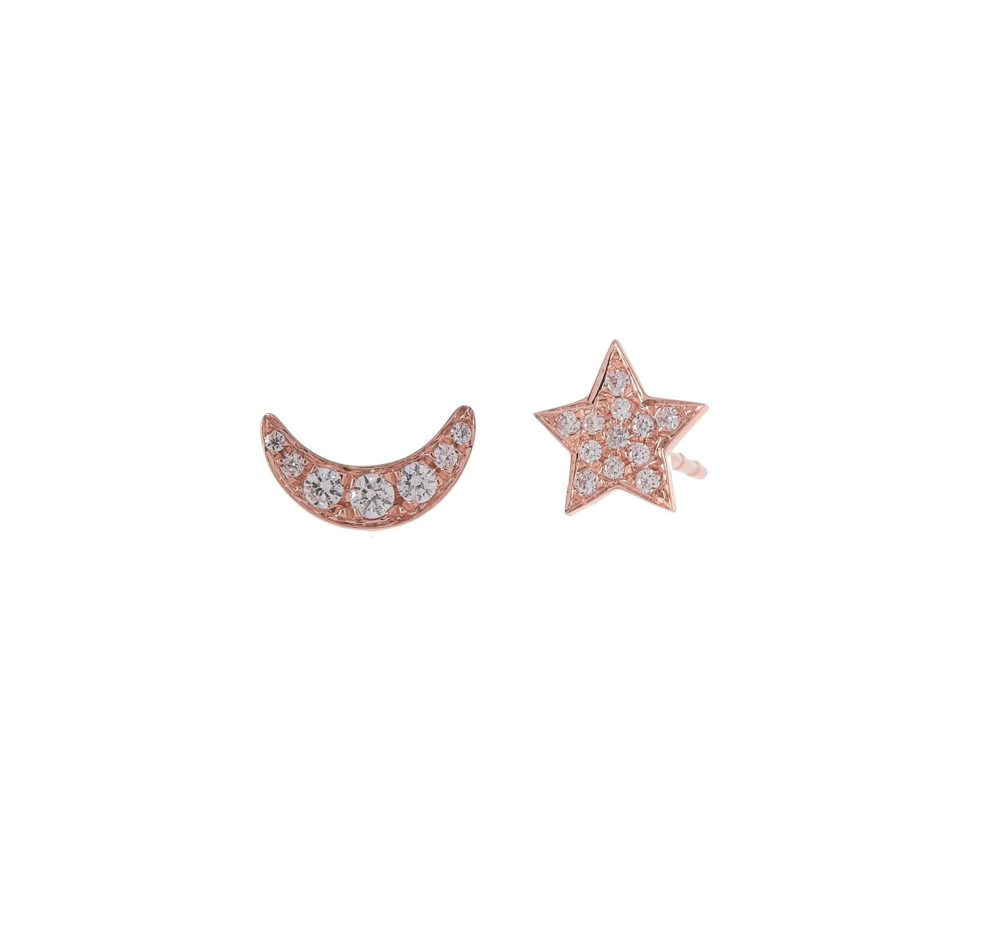 Pave Moon & Star Studs