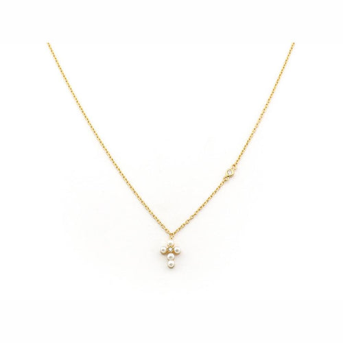Mini Pearl & CZ Cross Necklace