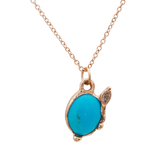 Oval Turquoise & Diamond Necklace