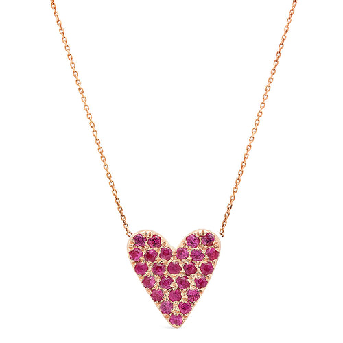 Pave Ruby Heart Necklace